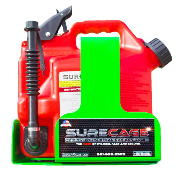BL043-SureCage 2.2 Gallon Lockable SureCan Gas Can Rack - TrailerRacks.com