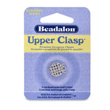 Upper Clasps, Round, Weave, Small, 2 Strand, Rhodium Plated, 1 pc