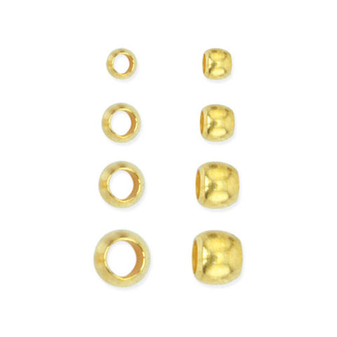 Crimp Bead Variety Pack, Sizes 0, 1, 2, 3, Gold Color, 600 pc.