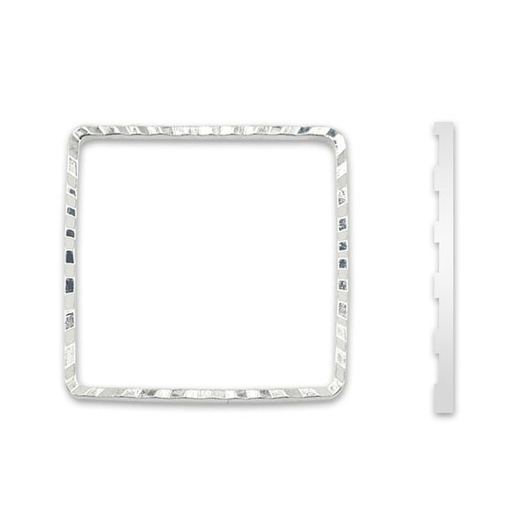 Quick Links, Square, 20 mm (.787 in), Diamond Cut, Silver Plated, 10 pc