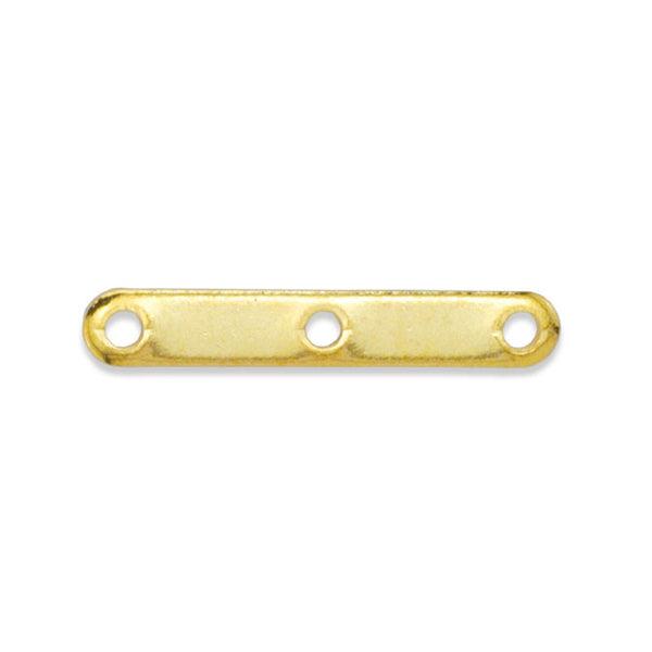 Spacer Bars, 3 Hole, Gold Color, 12 pc