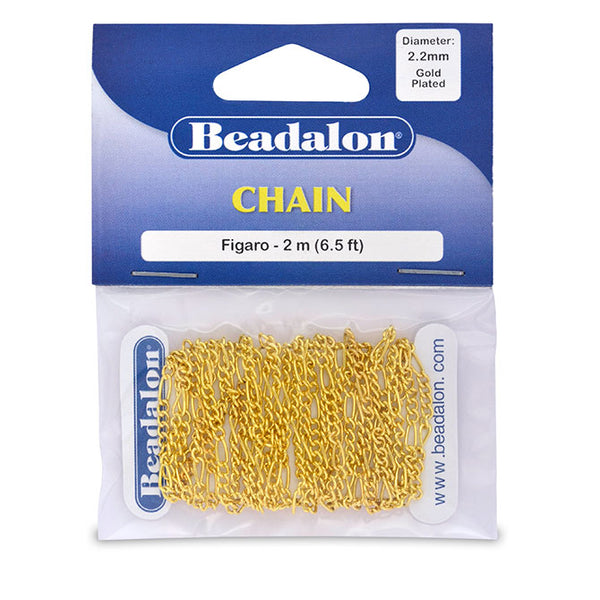 Chain, 2.2 mm (.087 in) Figaro, Gold Color, 2 m (6.56 ft)