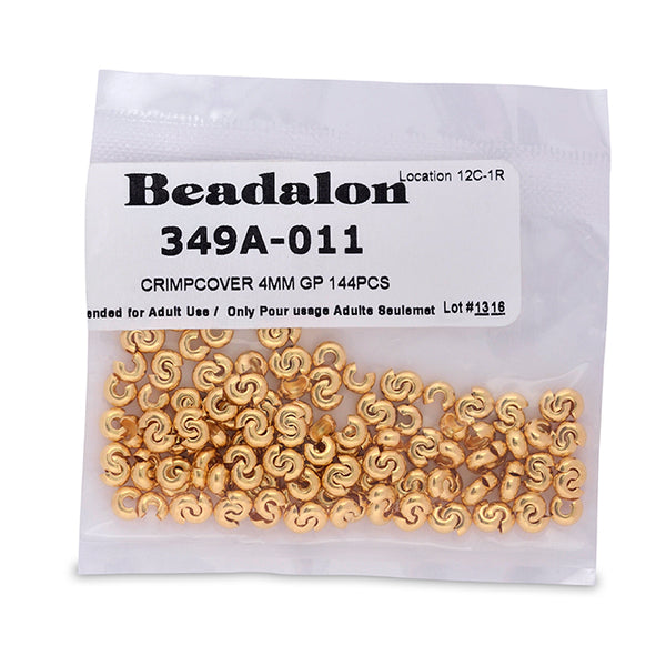 Crimp Covers, 4 mm (.157 in), Gold Color, 144 pc