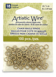 18 Gauge Artistic Wire, Chain Maille Rings, Round, Tarnish Resistant Brass, 5/32 in (3.97 mm), 100 pc