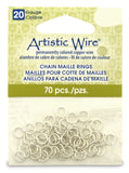 18 Gauge Artistic Wire, Chain Maille Rings, Round, Tarnish Resistant Silver, 9/64 in (3.57 mm), 70 pc