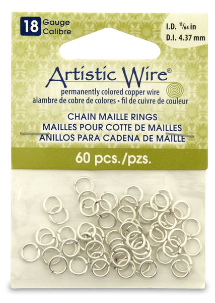 18 Gauge Artistic Wire, Chain Maille Rings, Round, Tarnish Resistant Silver, 11/64 in (4.37 mm), 60 pc