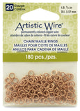 20 Gauge Artistic Wire, Chain Maille Rings, Round, Natural, 9/64 in (3.57 mm), 180 pc