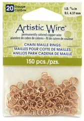 """4.37 mm 20 Gauge Artistic Wire Chain Maille Rings Round Natural 11//64/"""" 150pc"""