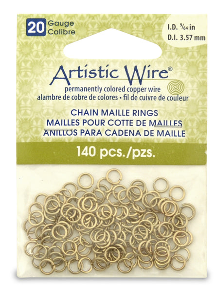20 Gauge Artistic Wire, Chain Maille Rings, Round, Tarnish Resistant Brass, 9/64 in (3.57 mm), 140 pc