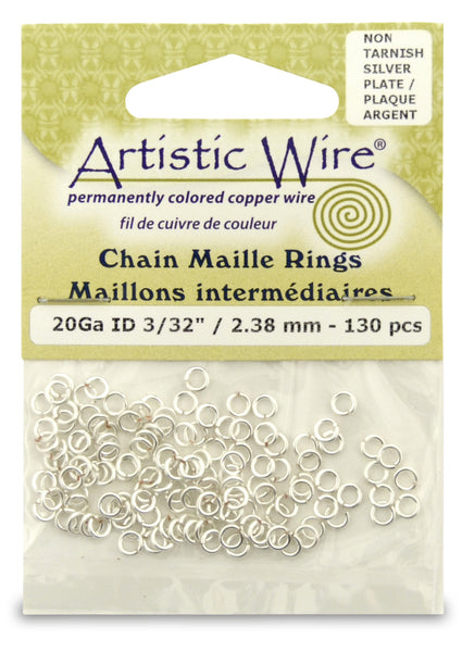 20 Gauge Artistic Wire, Chain Maille Rings, Round, Tarnish Resistant Silver, 3/32 in (2.38 mm), 130 pc