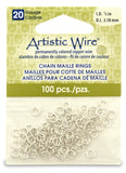 20 Gauge Artistic Wire, Chain Maille Rings, Round, Tarnish Resistant Silver, 1/8 in (3.18 mm), 100 pc