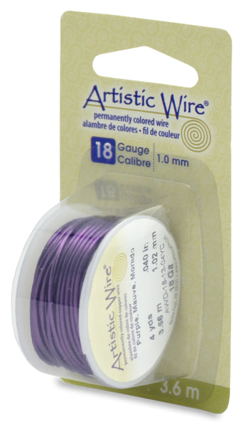 Artistic Wire, 18 Gauge (1.0 mm), Purple, 4 yd (3.6 m)