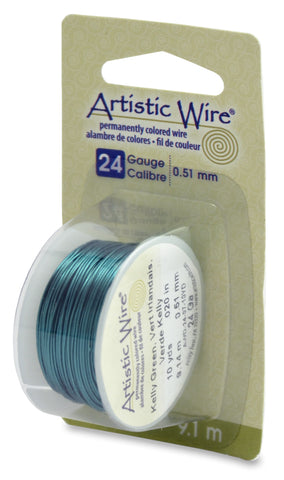 Artistic Wire, 24 Gauge (.51 mm), Kelly Green, 10 yd (9.1 m)