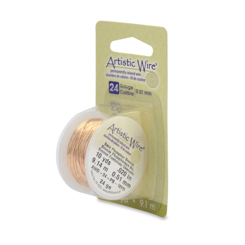 Artistic Wire, 24 Gauge (.51 mm), Bare Phosphor Bronze, 10 yd (9.1 m)