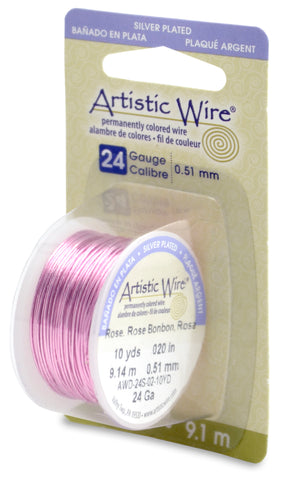 Artistic Wire, 24 Gauge (.51mm), Silver Plated, Rose, 10 yd (9.1 m)