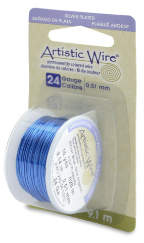 Artistic Wire, 24 Gauge (.51mm), Silver Plated, Silver Blue, 10 yd (9.1 m)