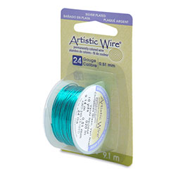 Artistic Wire, 26 Gauge (.41mm), Silver Plated, Christmas Green, 15 yd (13.7 m)