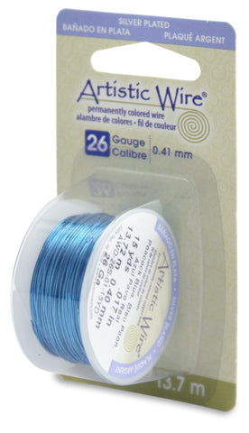 Artistic Wire, 26 Gauge (.41mm), Silver Plated, Peacock Blue, 15 yd (13.7 m)