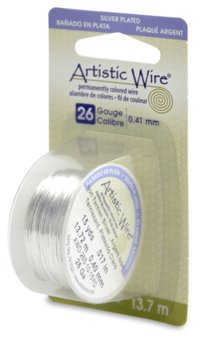 Artistic Wire, 26 Gauge (.41mm), Silver Plated, Tarnish Resistant Silver, 15 yd (13.7 m)