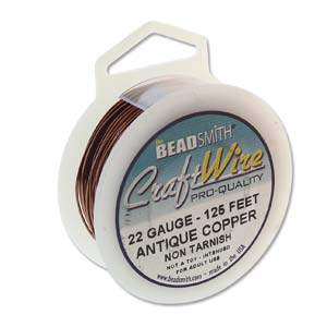 CRAFT WIRE 22GA ROUND 125FT SPL ANT COPPER