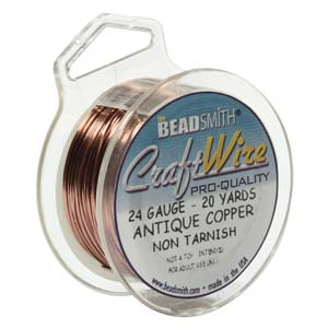 CRAFT WIRE 24GA ROUND 20YD SPL ANTIQUE COPPER