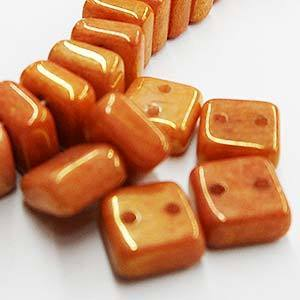 Chexx 6 mm 2 Hole Beads-Peach Lumi