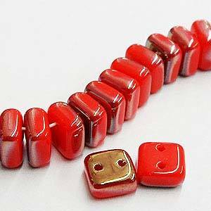Chexx 6 mm 2 Hole Beads-Coral Celsian