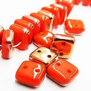 Chexx 6 mm 2 Hole Beads-Coral Apollo Gold