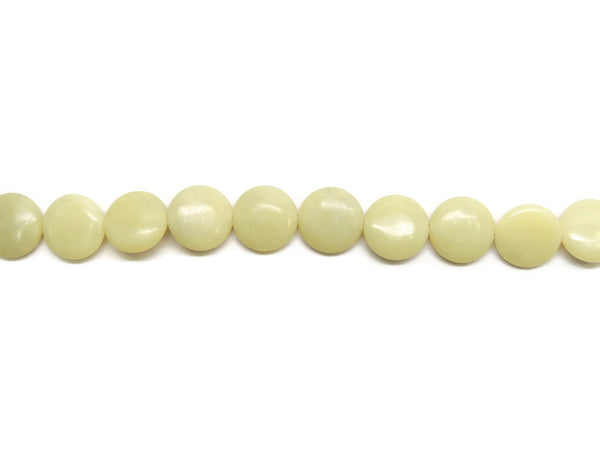 Yellow Jade Coin Smooth Gemstone Beads 20mm
