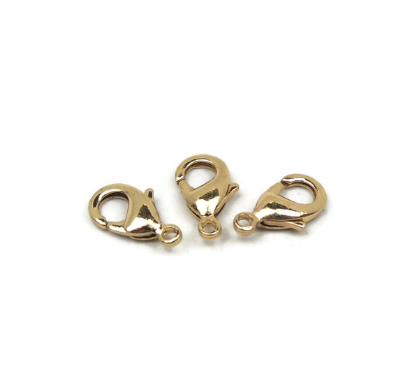 ALMA BEADS Gold Plated Lobster Clasp 15 mm 10 pcs