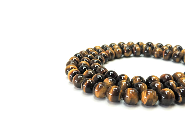 "Tigers Eye Smooth Round Gemstone Beads 14 mm 16"" strand AA Grade"