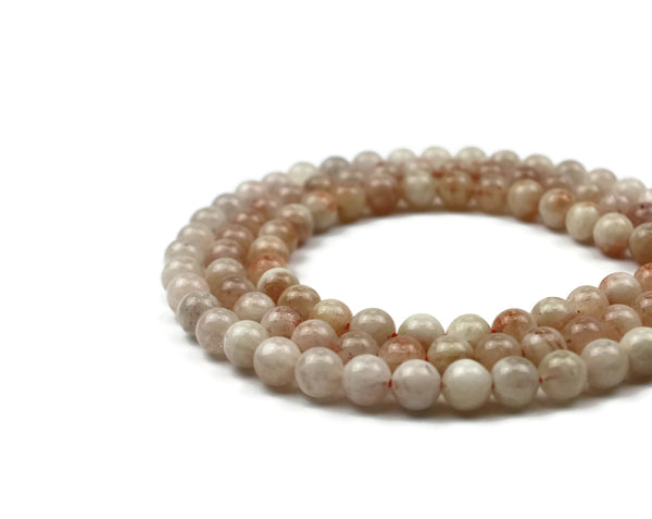 "Sunstone Smooth Round Gemstone Bead 8 mm 15"" strand"