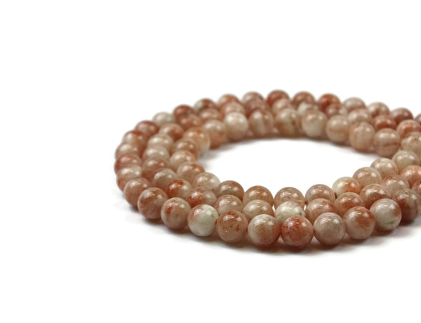 "Sunstone Smooth Round Gemstone Bead 10 mm 15"" strand"