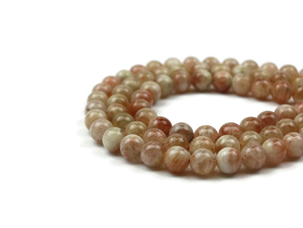 "Sunstone Smooth Round Gemstone Bead 11 mm 15"" strand"