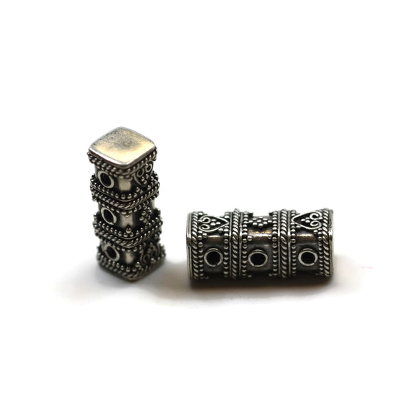 Bali Bead Sterling Silver 3-Hole Spacer Bead 8.5 x 21.5 mm