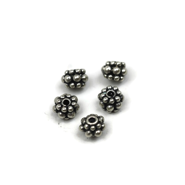 Bali Bead Handmade Sterling Silver Round Bead 6.5 x 7.5mm