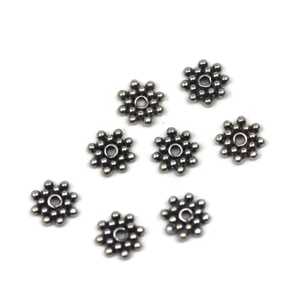 Bali Bead Sterling Silver Flower Daisy Spacer Bead 1.5 x 7mm