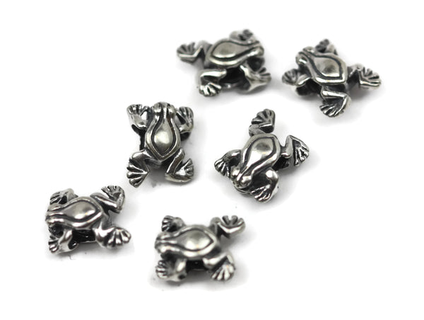 Bali Bead Handmade Sterling Silver Frog Bead 10 x 12.5 x 6.5mm