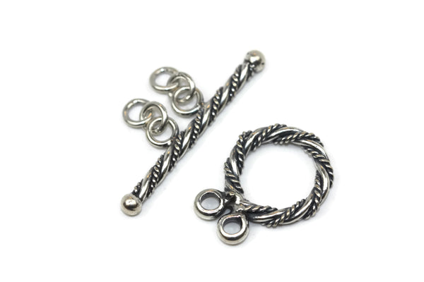 Bali Antique Sterling Silver Circle Toggle Clasp