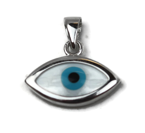 Rhodium Plated Sterling Silver Evil Eye Pendant 12 x 16.5 mm