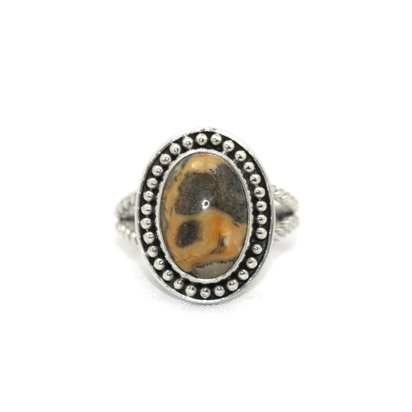 Handmade 925 Sterling Silver Agate Oval Ring with Rope Band