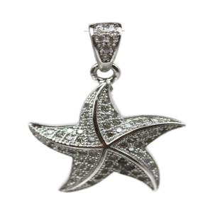 Rhodium Plated Sterling Silver Cubic Zirconia Star Pendant 20 x 18mm