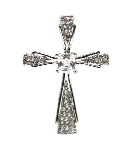Rhodium Plated Sterling Silver with Cubic Zirconia Cross Pendant 35 x 25 mm