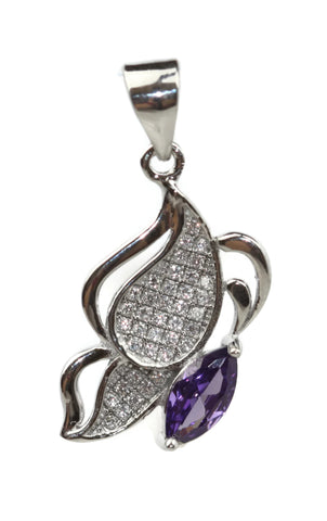 Rhodium Plated Sterling Silver Purple Cubic Zirconia Teardrop Pendant 21 x 12 mm