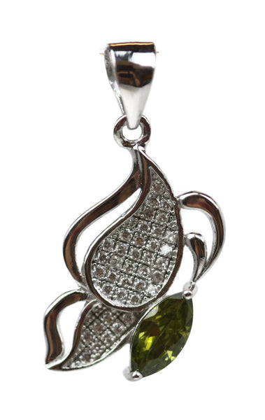 Rhodium Plated Sterling Silver Light Green Cubic Zirconia Teardrop Pendant 21 x 12 mm