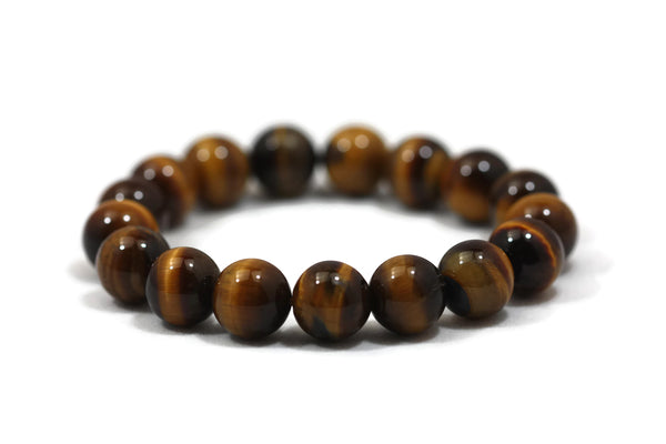 Tigers Eye Smooth Round Gemstone Beads 12mm Half Strand/Bracelet AA Grade