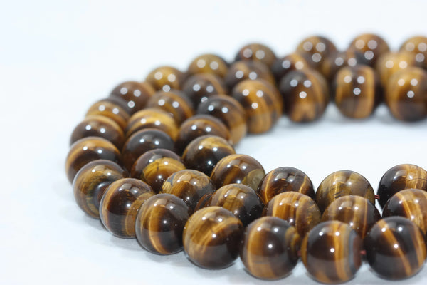 "Tigers Eye Smooth Round Gemstone Beads 15 mm 16"" strand AA Grade"