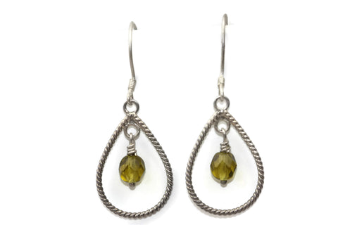 Sterling Silver Yellow Czech Glass Braided Teardrop Dangle Earrings