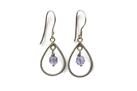 Sterling Silver Lavender Purple Glass Braided Teardrop Dangle Earrings