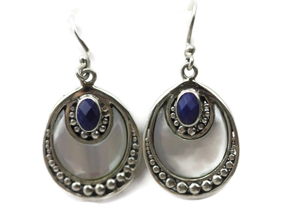 Handmade 925 Sterling Silver Circle Pendant with Lapis Lazuli